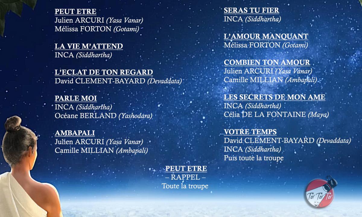 Liste chansons Showcase Siddhartha
