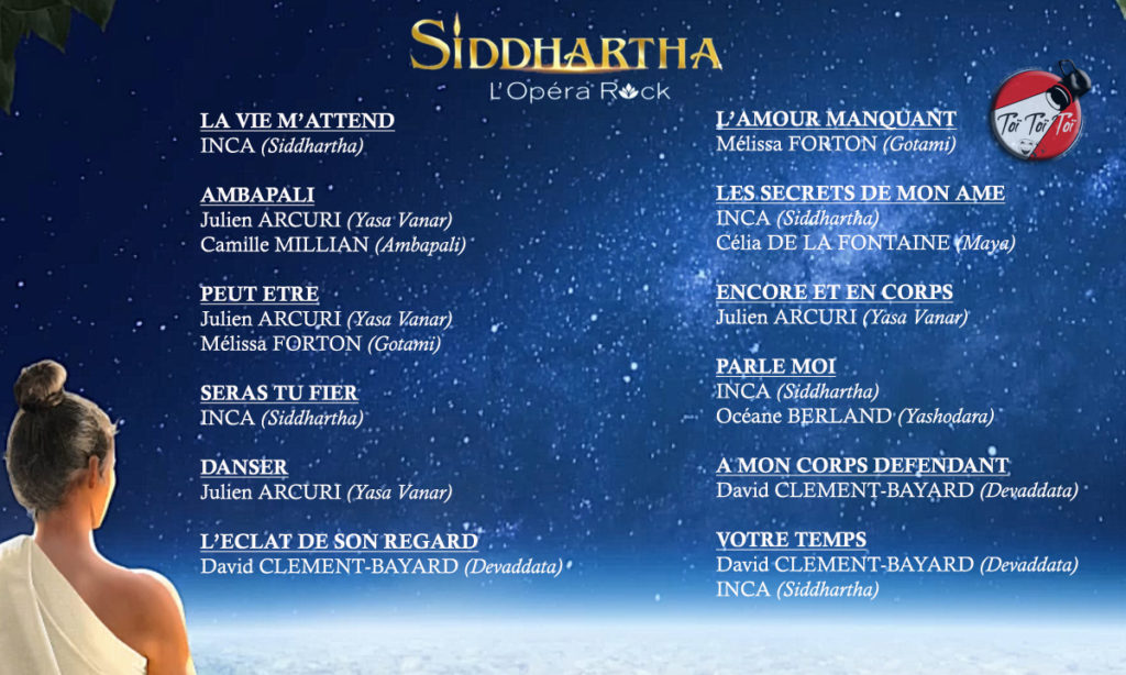 Album Siddhartha L'Opéra Rock - Liste des Chansons