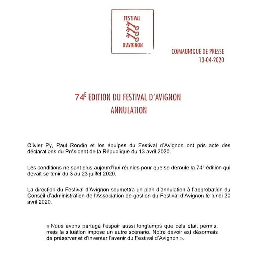 Avignon 2020 Annulation - Communiqué de presse B