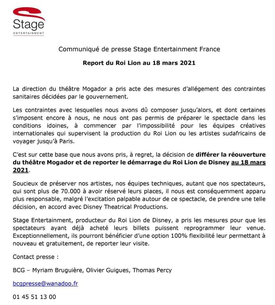 Report du Roi Lion